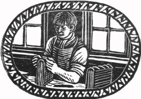 wood-engraving original print: Rounding & Backing for The London Bookbinders